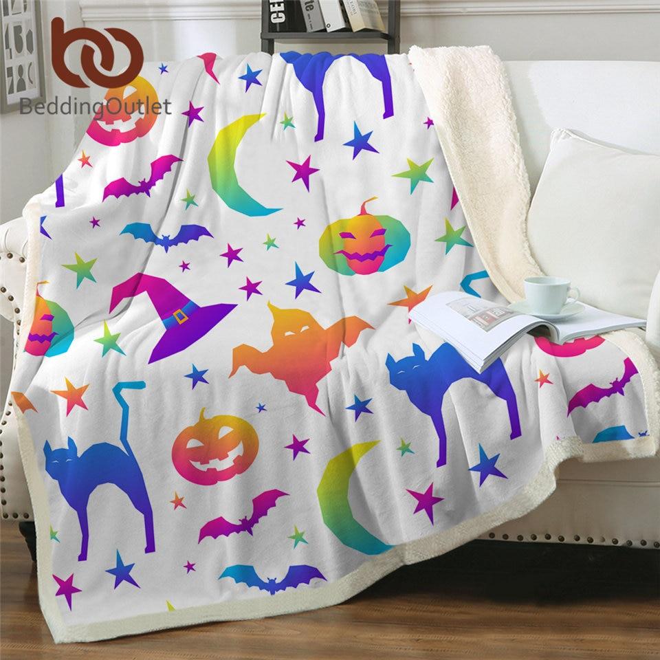 Beddingout هالوين حفلة رمي بطانية اليقطين الفراش الملونة الكتان بطانية شبح الخفافيش القط بطانية مخصصة 150x200