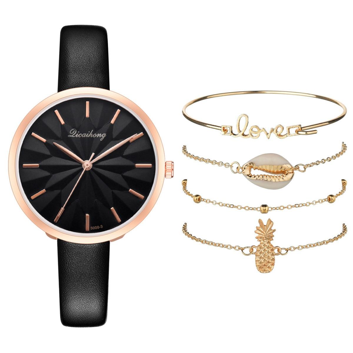 5pcs Suit 2020 Fashion Ladies Watch Set Personality Love Bracelets For Women Clock Luxury Dress Quartz Wrist Watches For Women enlarge