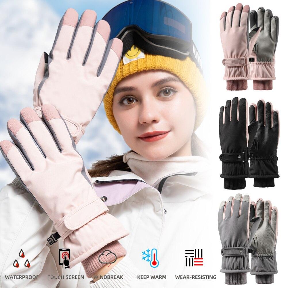 Очень толстые Мужские Женские варежки лыжные перчатки Сноуборд Зимние спортивные теплые водонепроницаемые ветрозащитные лыжные перчатки ...