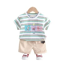 new summer baby boys girls clothes children casual striped t shirt shorts 2pcsset toddler sport costume outfits kids tracksuits