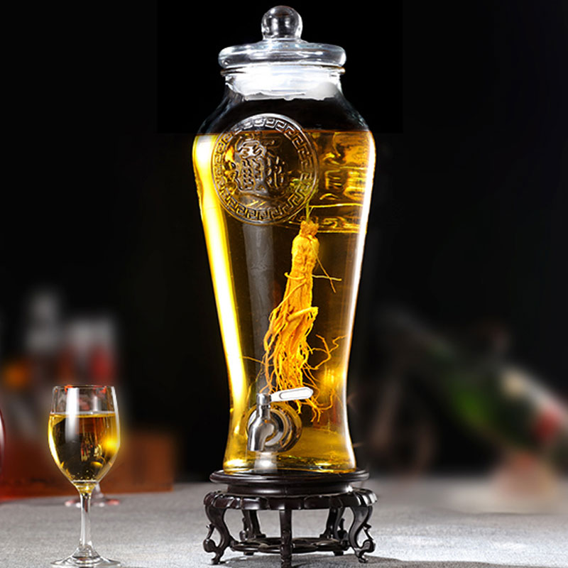 Frasco de vino de cristal grueso vacío sin plomo, frasco de barril enzimático con grifo, botella de licor de medicina tradicional china, botella de vino de ginseng