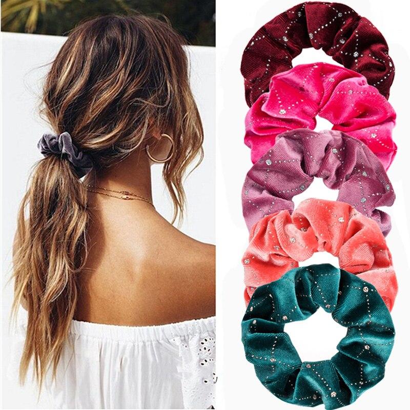Ruoshui 13 colores mujer lentejuelas terciopelo cabello lazos Scrunchies niñas Cola de Caballo soportes goma banda adornos accesorios para el cabello cabeza