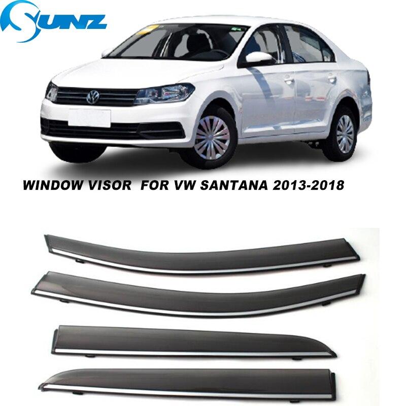 Side Window Visors For VW Santana 2013 2014 2015 2016 2017 2018 Smoke Weathershields Sun Rain Deflectors SUNZ