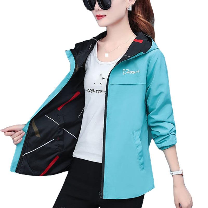 Женская двухсторонняя куртка с капюшоном, свободная куртка с мультяшным принтом, ветровка для весны и осени, 2021