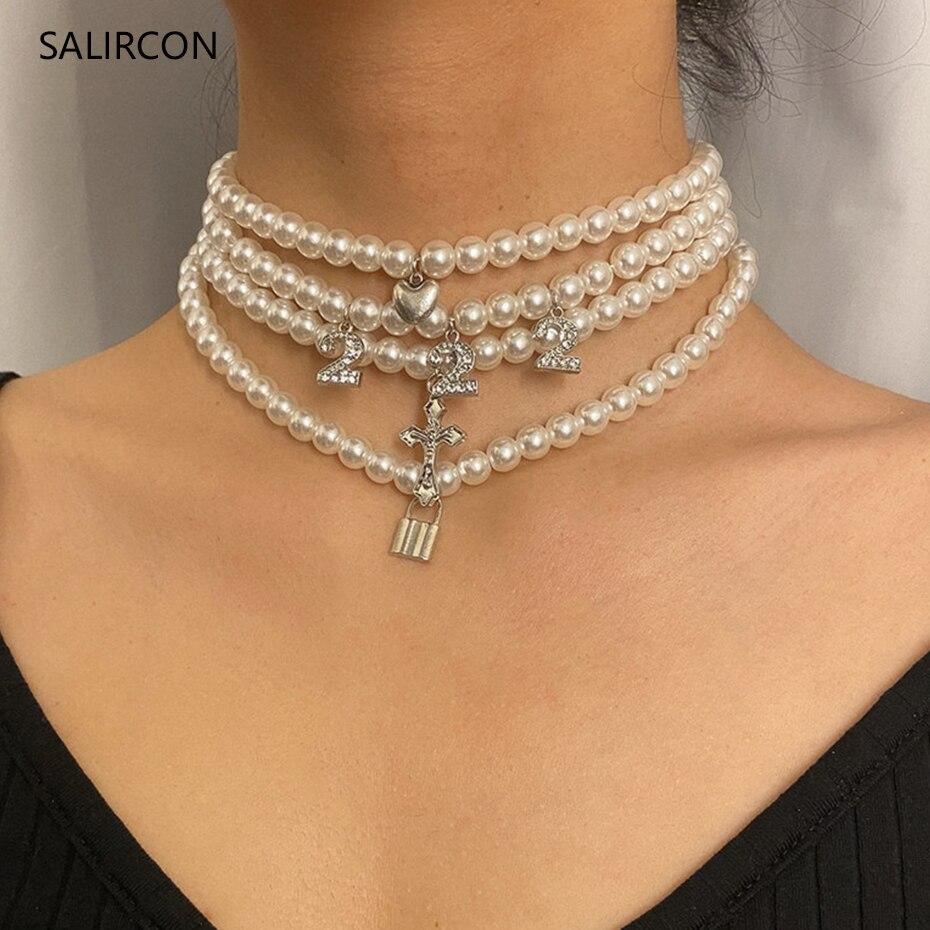Salircon 3 uds Multi capa perla de gargantilla de diamantes de imitación collar Boho 222 amor candado de corazón Cruz colgante de collar para las mujeres joyería nueva