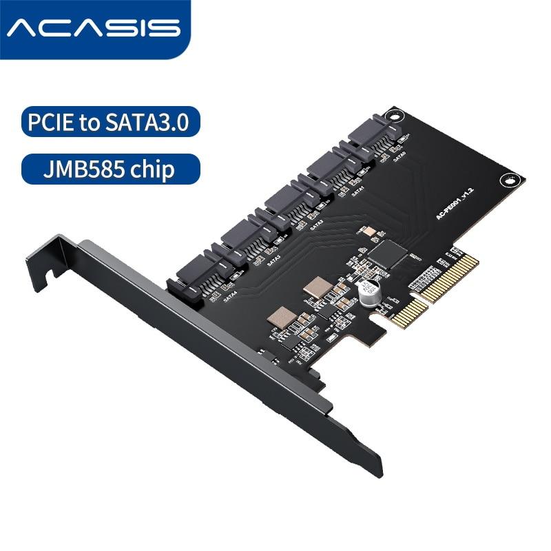 5 منافذ SATA 6Gbps إلى PCI Express بطاقة وحدة التحكم PCI-e إلى SATA III محول/محول Pcie الناهض توسيع لوح مهايئ للكمبيوتر