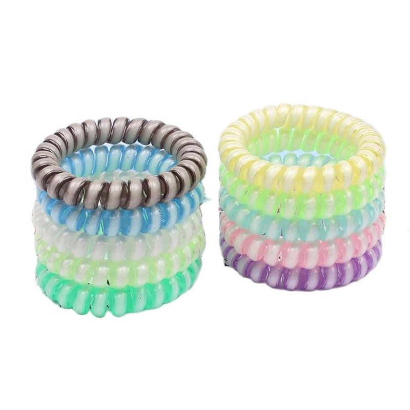 Lot 10Pcs Luminous Telephone Line Hair Ring Rubber Band Soft For Women Ponytail Accessories Headwear Female Scrunchie Hot Sale
