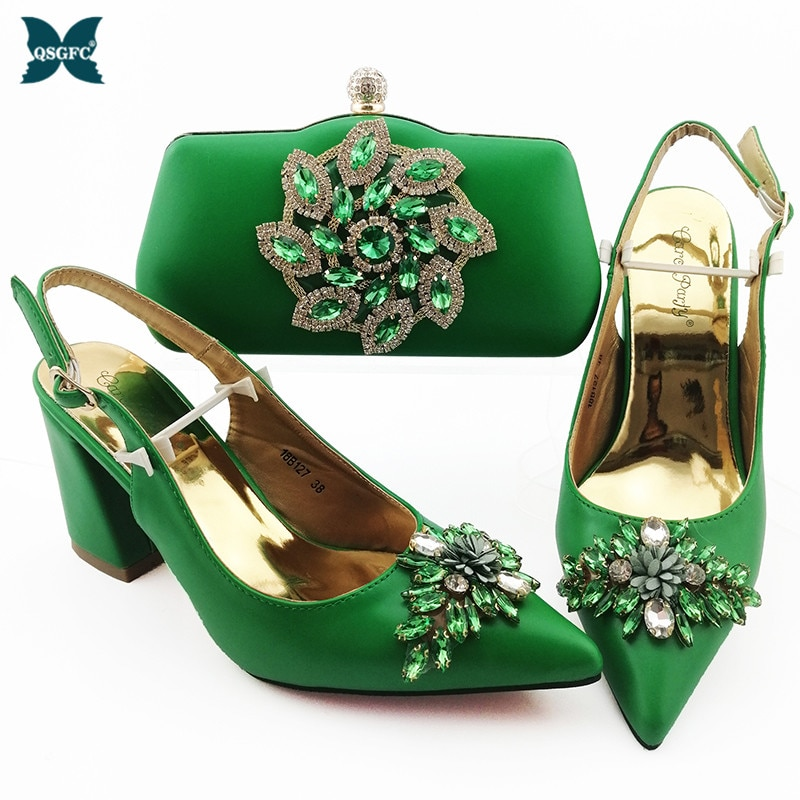 Nigerian Fashion New Arrival Italian Design Crystal amd Appliques Decoration Style Women Shoes and B