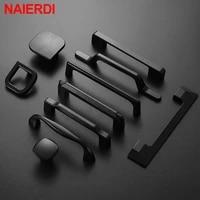 naierdi 10pcs american style solidblack cabinet handles aluminum alloy kitchen cupboard pulls drawer knobs furniture handle