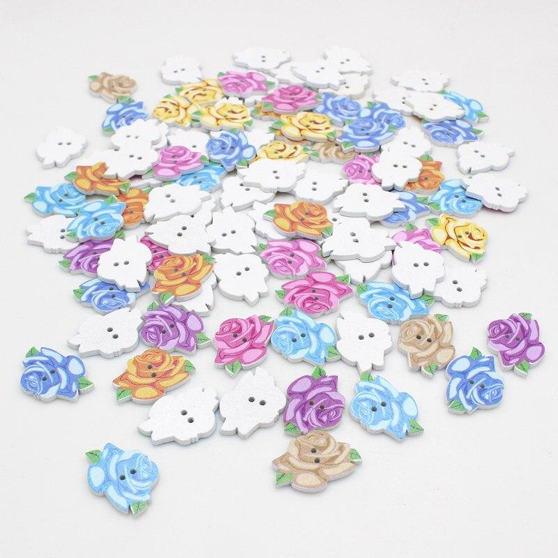 50 Uds. Botones de rosa a granel mezcla de colores accesorios para niños botones decorativos para libro de recortes a granel