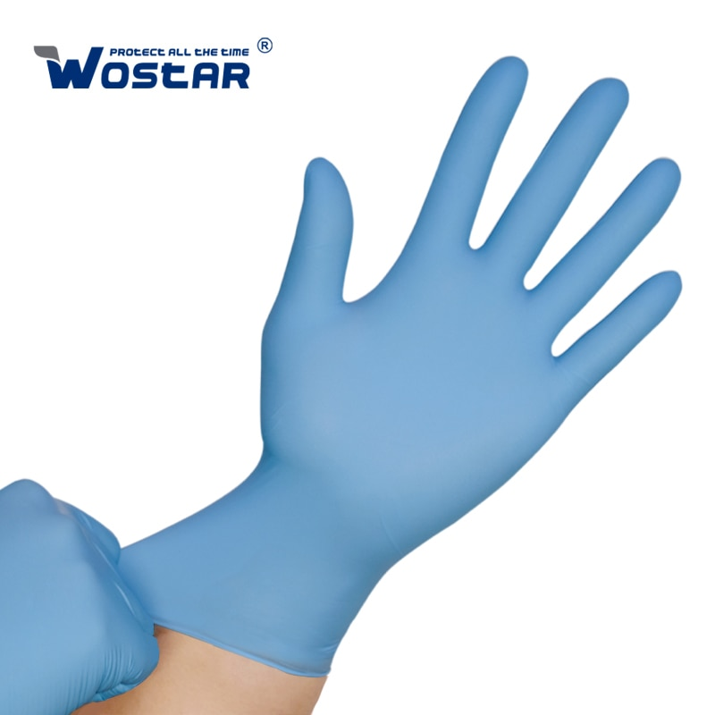 Disposable Nitrile Gloves BIue Wostar 100PCS Waterproof Oil-Proof Allergy Free Food Grade Kitchen Cleaning Women Work Gloves недорого