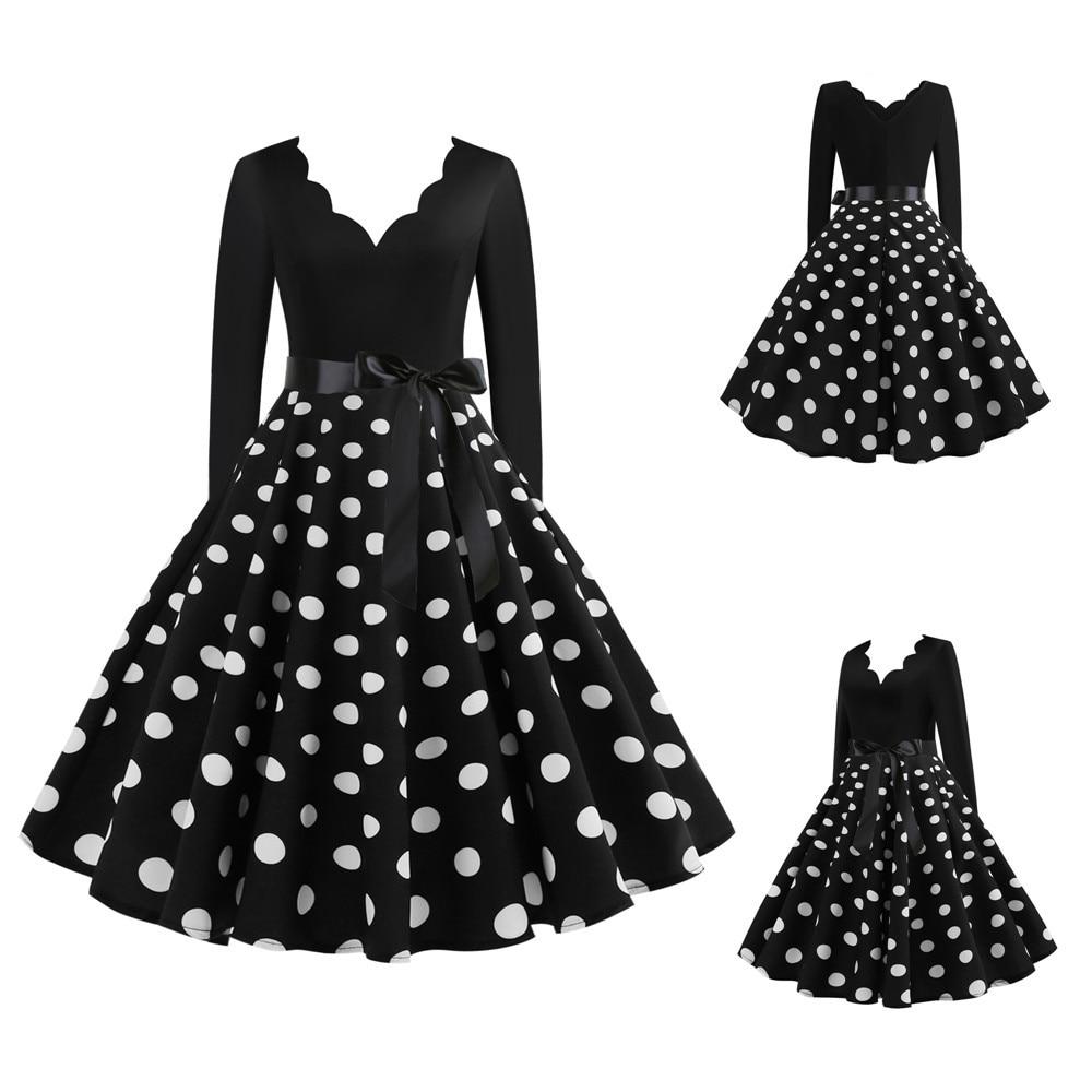 Weiß Polka Dot Kleid Frauen Langarm Vintage Pin Up Gothic 2020 Sommer V-ausschnitt Partei Sexy Kleider Plus größe 3XL vestidos