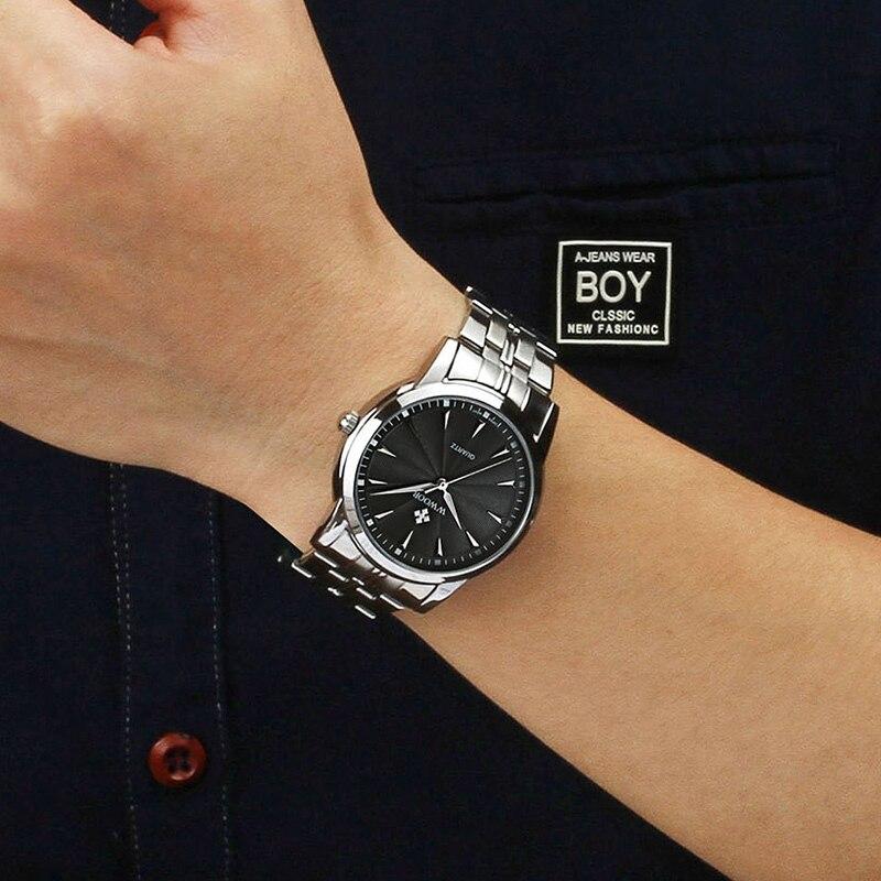 WWOOR 2020 relojes deportivos a prueba de agua para hombres, marca de lujo, reloj de pulsera negra de acero, reloj de cuarzo para hombres de negocios, reloj para hombre