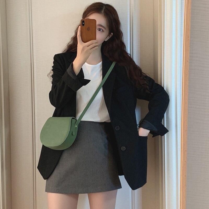 Black Suit Coat Women's 2021 Spring And Autumn Korean British Style Suit Design Sense Xiaozhong Net