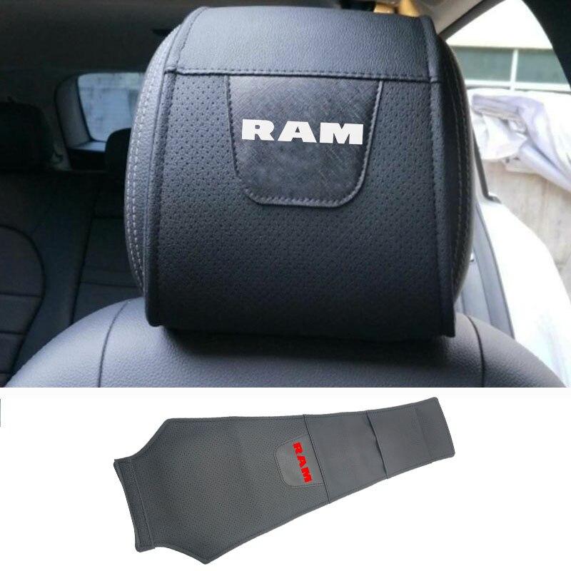 Para Dodge Ram, funda protectora para reposacabezas de coche, Funda de cuero Pu para reposacabezas de coche, accesorios para coche