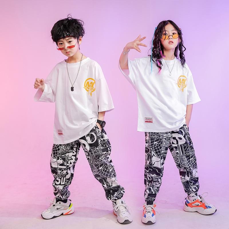 New Children Summer Jazz Dance Costumes Boy Girl Short Sleeve T-shirt Comics Print Pants Suit Street Dance Hip Hop Rave Outfits