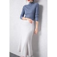 2021 european and american fashion bag hip skirt spring new slim fishtail skirt mid length knitted skirt mid length skirt women