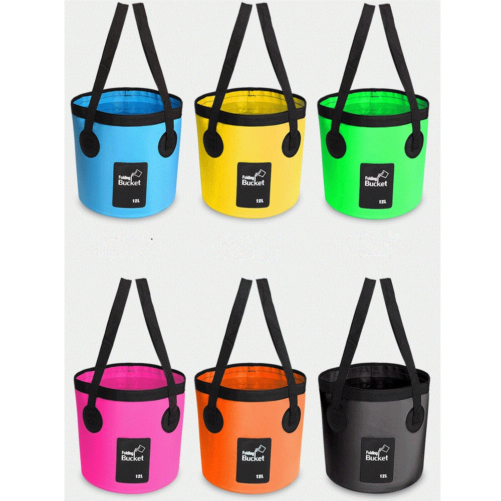12L 20L portable bucket outdoor travel water storage bag waterproof fishing foldable car supplies