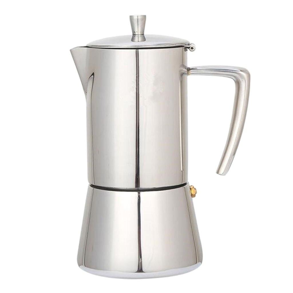 200 مللي/300 مللي إبريق قهوة الفولاذ موكا صانع مزحلة غلاية تعمل بالتنقيط الفضة