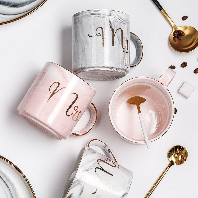 Pareja taza mr mrs cerámica mármol café taza oro leche Navidad taza porcelana té taza de Viaje taza creativa