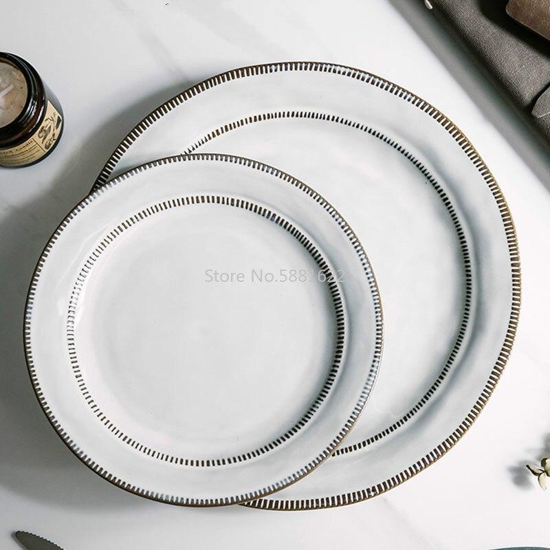 Vajilla de cerámica japonesa bajo platos esmaltado de Color plato Procelain ensalada redonda platillos tazón de sopa de arroz
