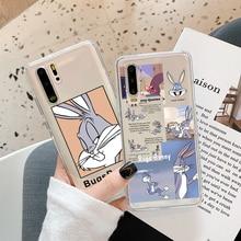 Kreskówka królik etui na telefony dla Huawei P40 P30 P20 Lite Mate 30 Pro 20 P inteligentne Nova 5t dla honoru 10 8X 9X 7A 8a miękka okładka