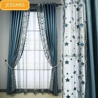 light luxury flannel lace stitching curtains blackout curtains for living room bedroom finished product customization