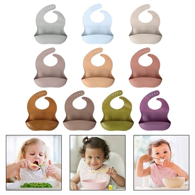 Мягкий силиконовый нагрудник для малышей, однотонный нагрудник для кормления малышей, карманный водонепроницаемый слюнявчик еды, регулиру...