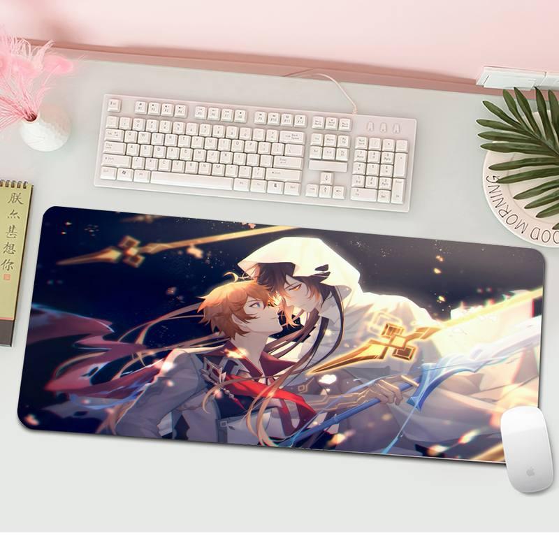Большой игровой коврик для мыши XXL Genshin Impact, аксессуары для ПК, ноутбука, геймера, коврик для мыши, Настольный коврик для клавиатуры, ковер ...