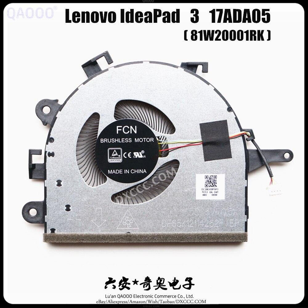 Portátil para Lenovo Ventilador de Refrigeração da Cpu Qaooo Ventilador Ideapad 17ada05 81w20001rk Cpu 3