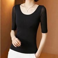 ljsxls solid color net yarn base tops t shirt women elegant slim o neck short sleeve tee shirt femme summer black women clothing
