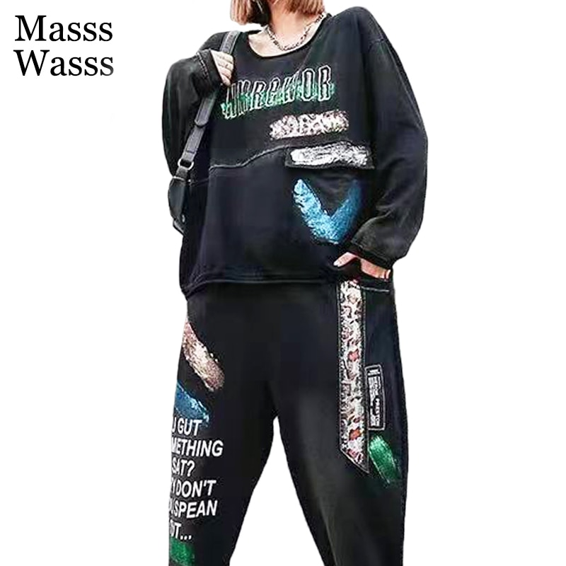 ماسيس واسس 2021 ، سراويل الهيب هوب السوداء ، بلوزات النساء دائرية طويلة الأكمام ، سراويل عتيقة ، ملابس السيدات ، مجموعات ملابس فضفاضة من قطعتين