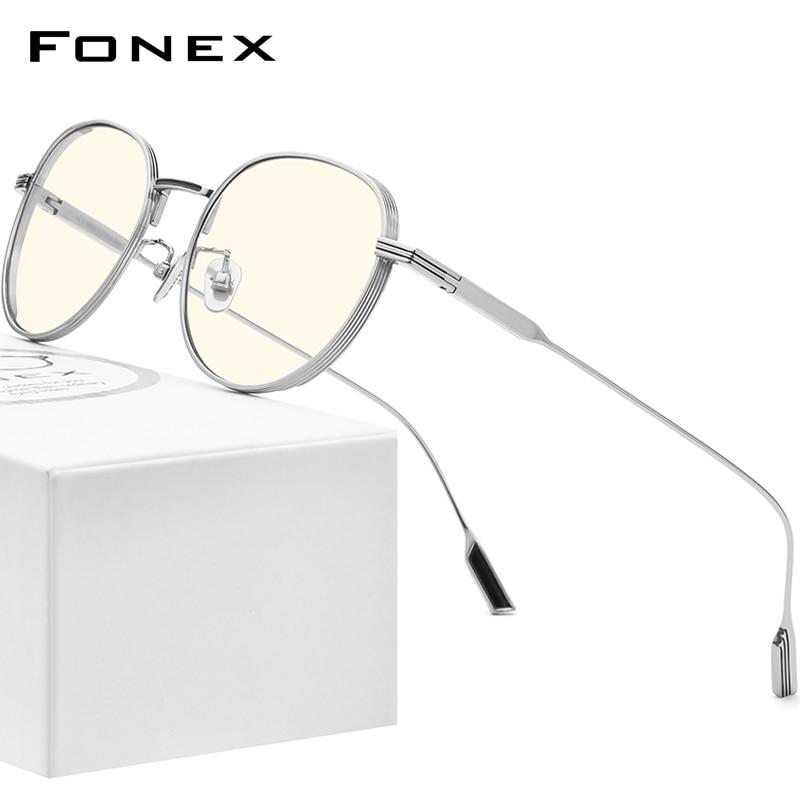 FONEX التيتانيوم النقي مكافحة الضوء الأزرق حجب النظارات النساء 2020 جديد خمر أشعة مستديرة Antiblue الكمبيوتر نظارات الرجال FAB013