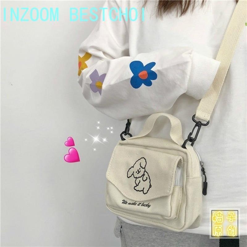 Ladies Fashion Canvas Small Square Bag Korean Version Multifunctional Cute Dog One-shoulder Diagonal Mobile Phone Package