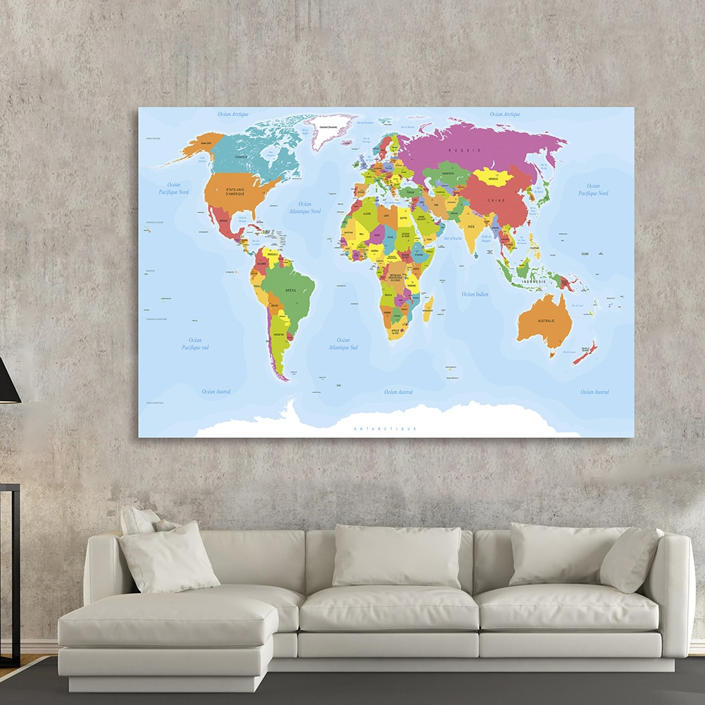 225*150cm In French The World Map Wall Poster Non-woven Canvas Painting Office Living Room Home Decor Children School Supplies