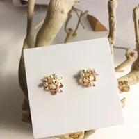 mihan s925 needle sweet jewelry flower earrings pretty design enamel simulated pearl stud earrings for girl lady gifts