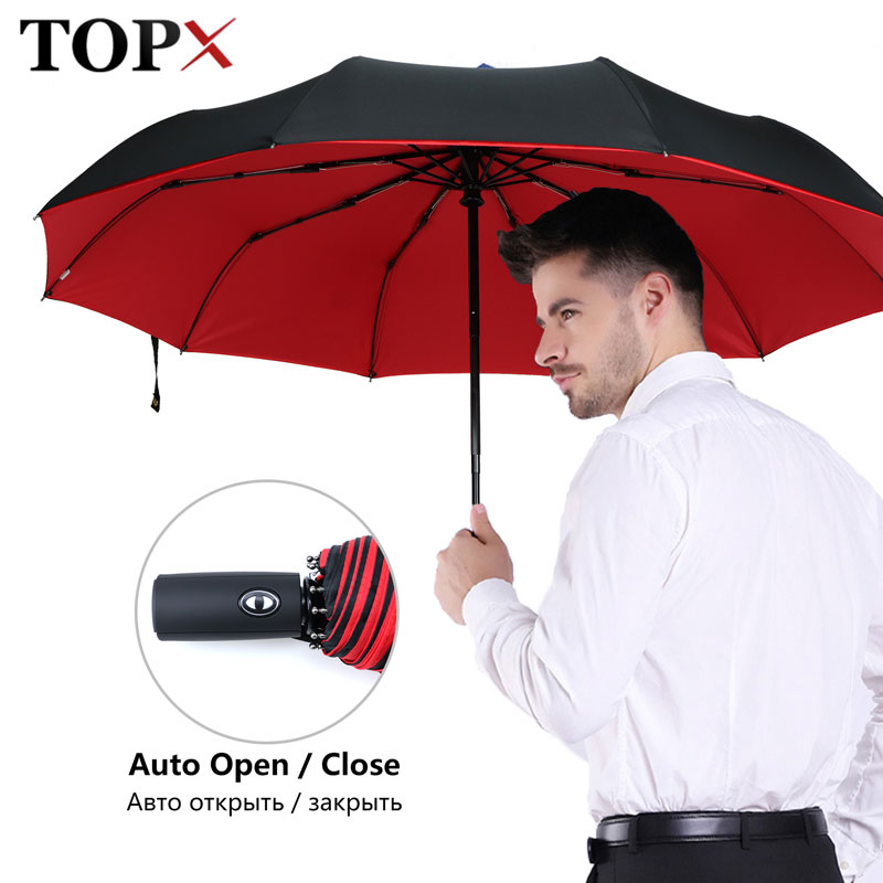 3 paraguas plegable para hombres, paraguas completamente automático resistente al viento para mujeres, paraguas doble tela impermeable, Parasol de negocios al aire libre