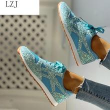 Women Flat Glitter Sneakers Casual Bling Vulcanized Shoes Female Mesh Lace Up Platform Comfort Plus