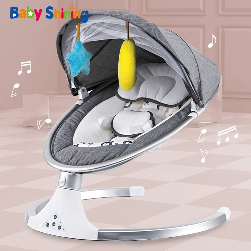 Baby Shining Smart Electric Baby Cradle Crib Rocking Chair Baby Bouncer Newborn Calm Chair Bluetooth with Belt Remote Control