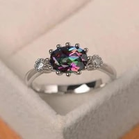 milangirl luxury dainty colorful crystal rings for women wedding engagement rings princess jewelry accessories