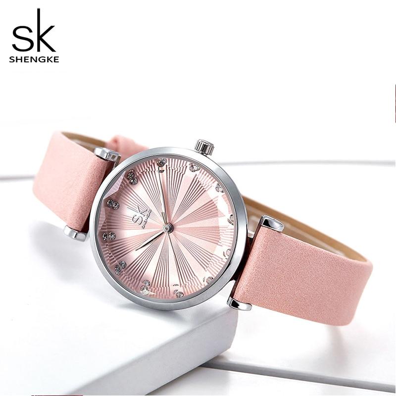 Shengke Womens Watches Luxury Ladies Watch Leather Watches For Women Fashion Bayan Kol Saati Diamond Reloj Mujer 2019