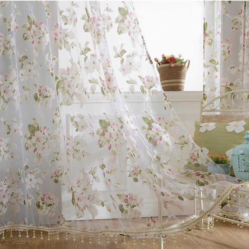 Cortinas transparentes de tul para ventana, para sala de estar, cocina, cortinas modernas, paneles, ventanas, cortinas florales de gasa