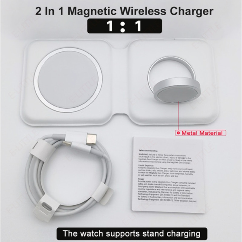 15W QI Wireless Charging 2 in1 Wirless Charger for iphone 12 For iphone Watch Fast Charging For Magsafing DUO Charing Dock