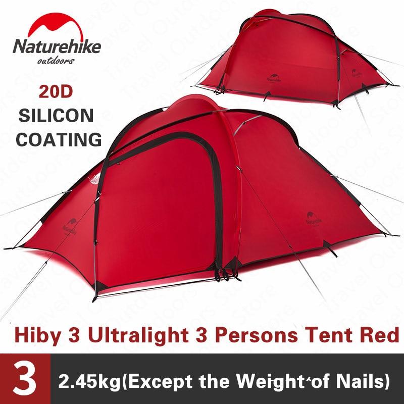 Naturehike, tienda de campaña, Hiby 3-4 personas, gran capacidad, a prueba de lluvia, 20D/40D/210T, doble capa, tienda de campaña turística, 4 Estaciones, con estera gratuita