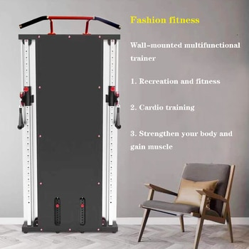 Wall-mounted multifunctional mirror trainer with small footprint for household use, combined multifunctional fitness