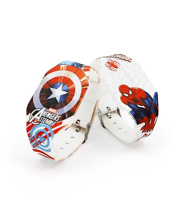 Часы Детские с мультяшным рисунком, силиконовые светодиодные электронные часы Disney, marvel, Человек-паук, Капитан Америка, студенческие игрушки...