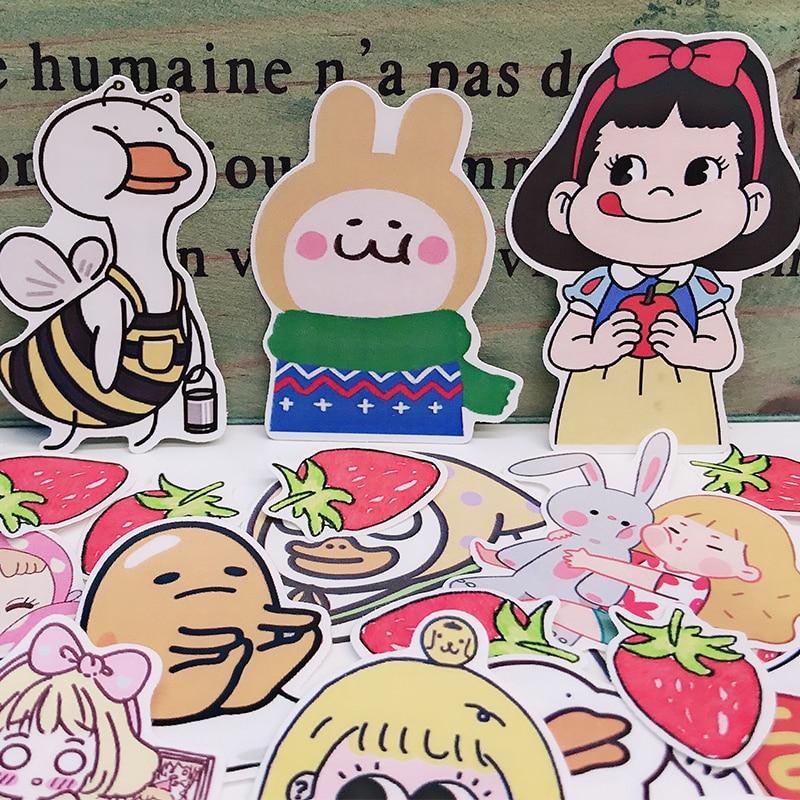 24PCS Hand account sticker big girl strawberry TN material hand account tool kindergarten primary school student reward HOBO