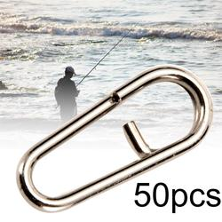 Mini anéis giratórios de aço inoxidável, 50 peças de anéis com fenda oval ferramenta de equipamento de pesca clipes de conexão rápida snap cnnector interlock