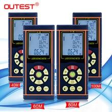 Mètre de distance laser extérieur angle 40M 60M 80M 100M télémètre laser ruban à mesurer règle laser trena ruban avec niveau électronique