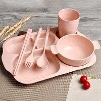 6pcs fork and spoon set baby breakfast tableware eco friendly tableware children dinner plate set portable travel tableware